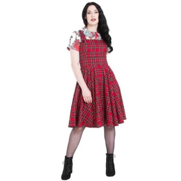 Hell Bunny Dresses & Skirts - Hell Bunny Womens Dress Irvine Pinafore Plaid Red
